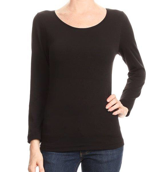 Long Sleeve Fitted Stretch Top- Brushed Soft Inside
