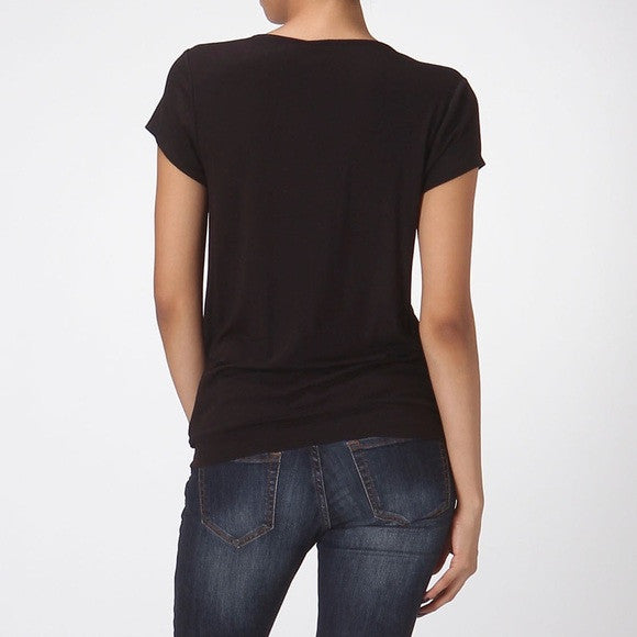 Drape Surplice Top - Black