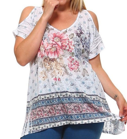 Cold Shoulder Floral Print Tunic - Plus Size