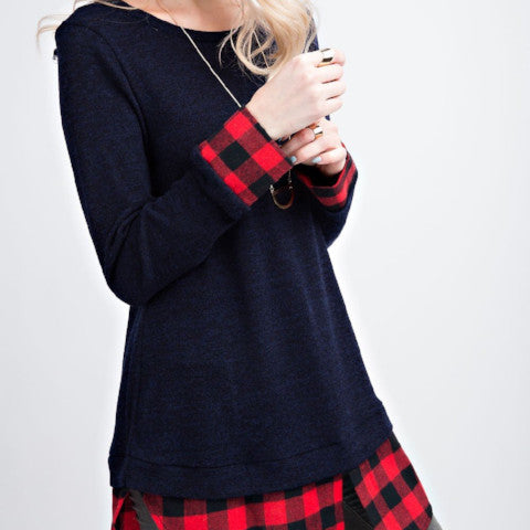 Black Long Sleeve Tunic w/ Red Plaid Trim