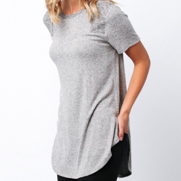 Brushed Jersey Knit top with Yoke Detail