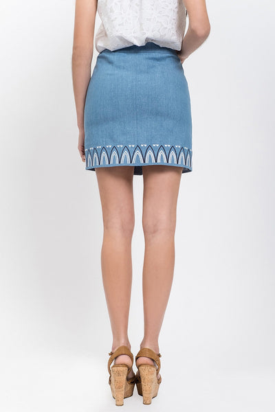 Embroidered Button Front Skirt - Denim Color