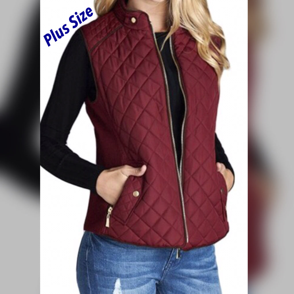 Quilted Puffer Vest -Plus Size