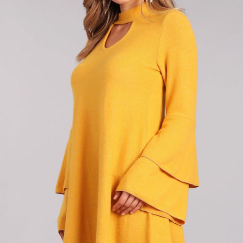 Mock Neck Keyhole Accent Tunic