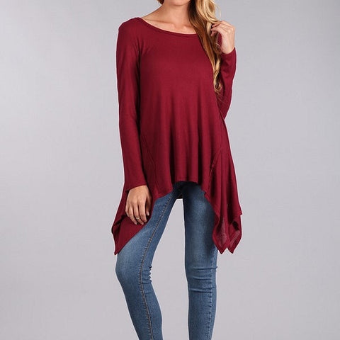 Asymmetrical Relaxed Style Tunic-Burgundy