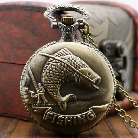 Vintage Style | Bronze Fish Relief | Fishermans Pocket Watch