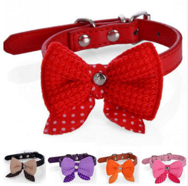Leather Dog & Cat Collar Bow-Tie FREE + SHIPPING