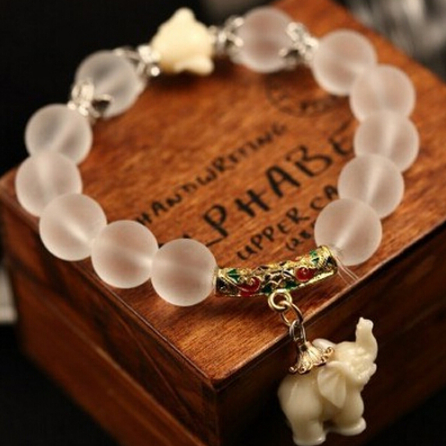 Natural Frosted Crystal Cute Elephant Pendant Natural Stone Bracelets