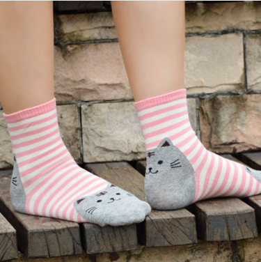 Cute Casual Kitty Cat Style Striped Cotton Socks