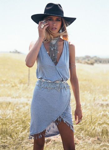 SummerCotton Boho Maxi High Slit Fringe Tassel Dress