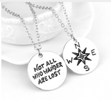 "Wanderlust Travelers Necklace "" Not All Who Wander Are Lost"" Inspirational Jewelry"