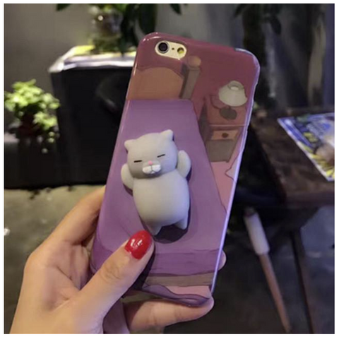 3D Cute Soft Silicone Squishy Cat Phone iPhone Case