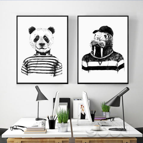 Hand Drawn Panda And Hippo Set Wall Pictures