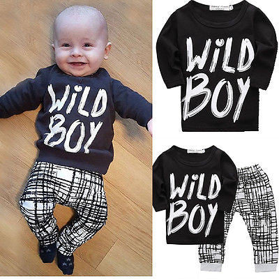 2016 Winter | Baby Boys Long sleeve | 2pcs Wild Boy T-shirt and Pants Set
