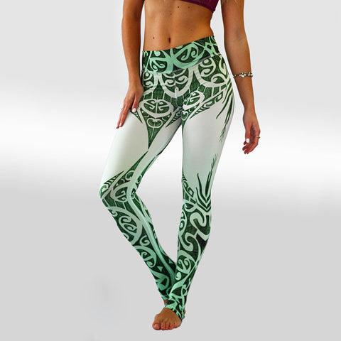 Green and White Tribal Pattern | Womens Activewear Leggings