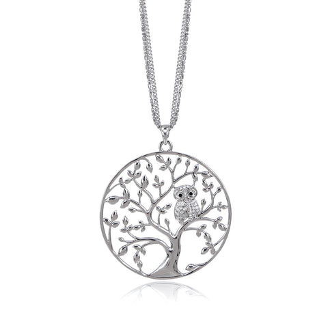 Owl In The Tree Pendant Necklace