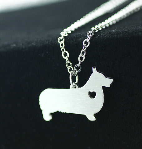 Welsh Corgi puppy Stainless Steel Doggy Pendant Necklace