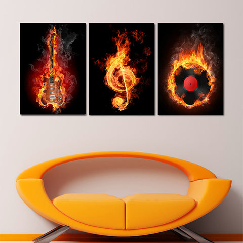 Burning Guitar Musical Note