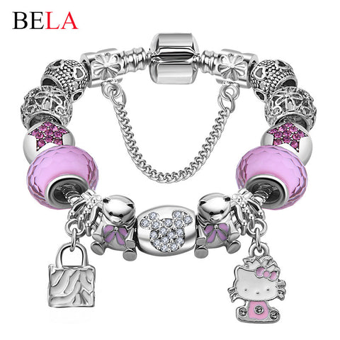 Lovely Girls Jewelry Silver Plated 925 Women Bracelet Pink&Blue Murano Glass Beads Crystal Hello Kitty Charms Bracelet for Women