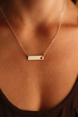 Elegant | Yorkie Lovers | Puppy Cut-Out Bar Necklace