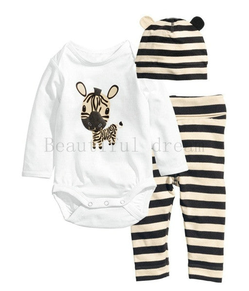 3PC Newborn Clothing Sets | Long-Sleeve Bodysuit-Hat-Pants Outfits