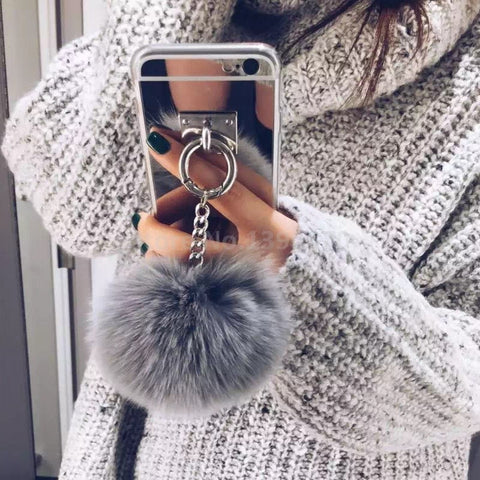 Attachable Phone Safety Ring Case With Furry Keychain | For iPhone 7 7Plus 6 6S 6plus 4 5 S 5S SE