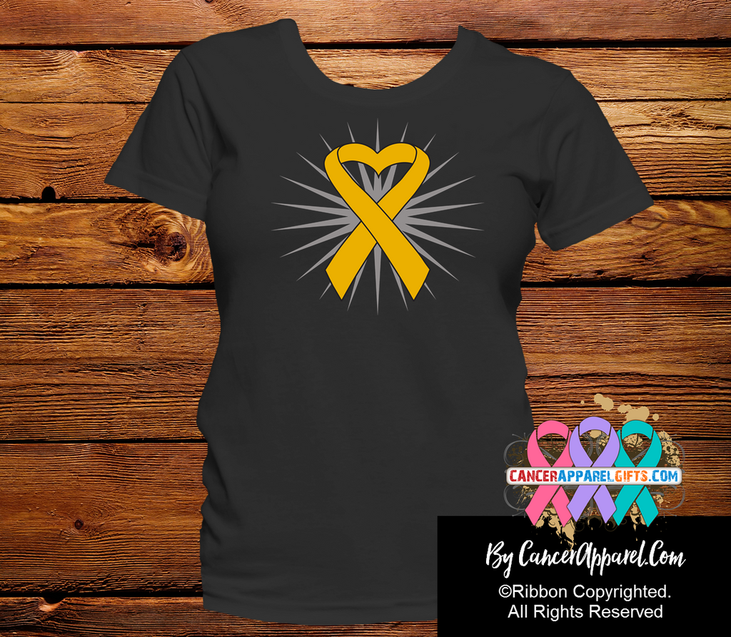 Appendix Cancer Awareness Heart Ribbon Shirts