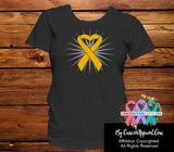 Appendix Cancer Awareness Heart Ribbon Shirts - Cancer Apparel and Gifts