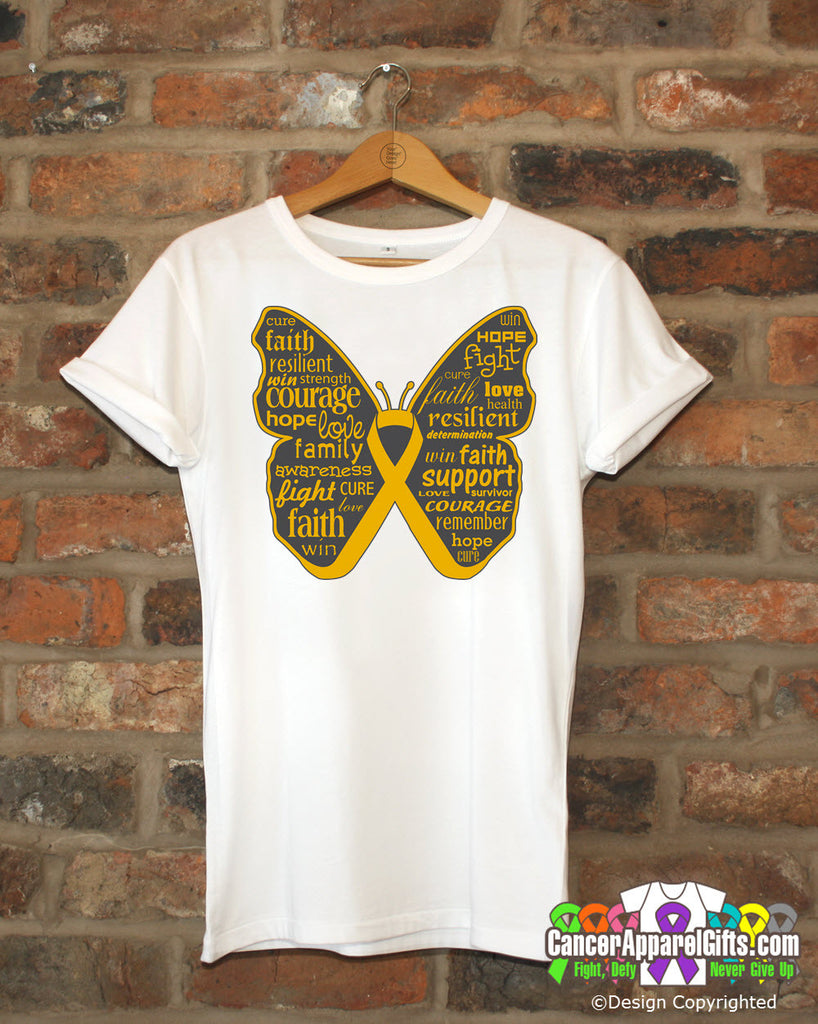 Appendix Cancer Butterfly Collage of Words Shirts