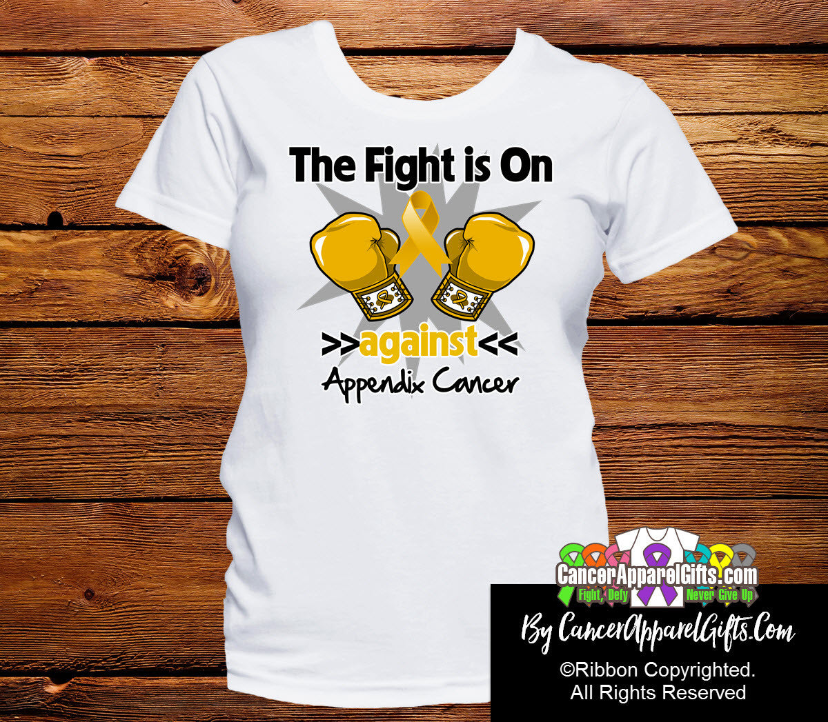 Appendix Cancer The Fight is On Ladies Shirts