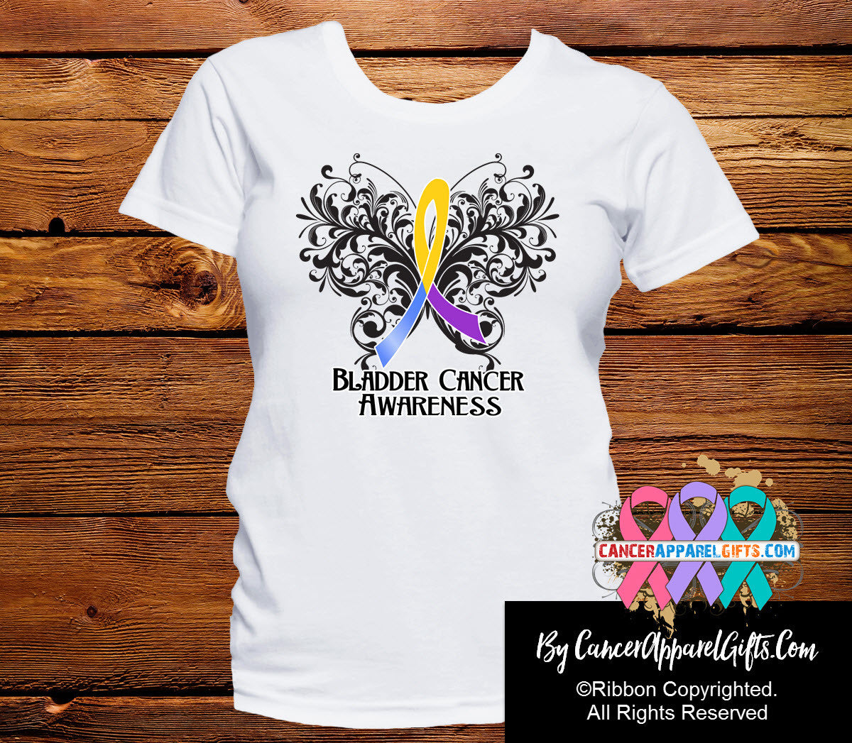 Bladder Cancer Butterfly Ribbon Shirts - Cancer Apparel and Gifts