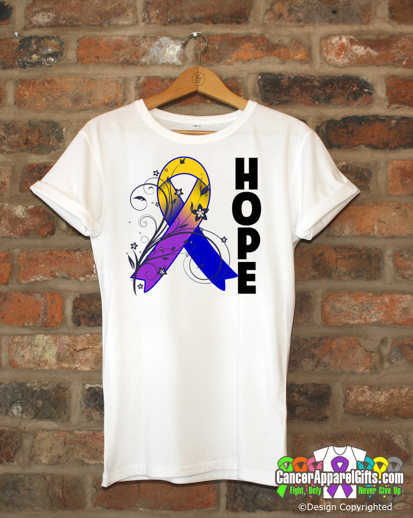 Bladder Cancer Floral Hope Ribbon T-Shirt