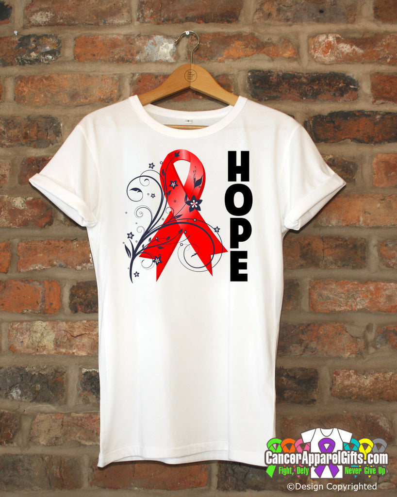 Blood Cancer Floral Hope Ribbon T-Shirt