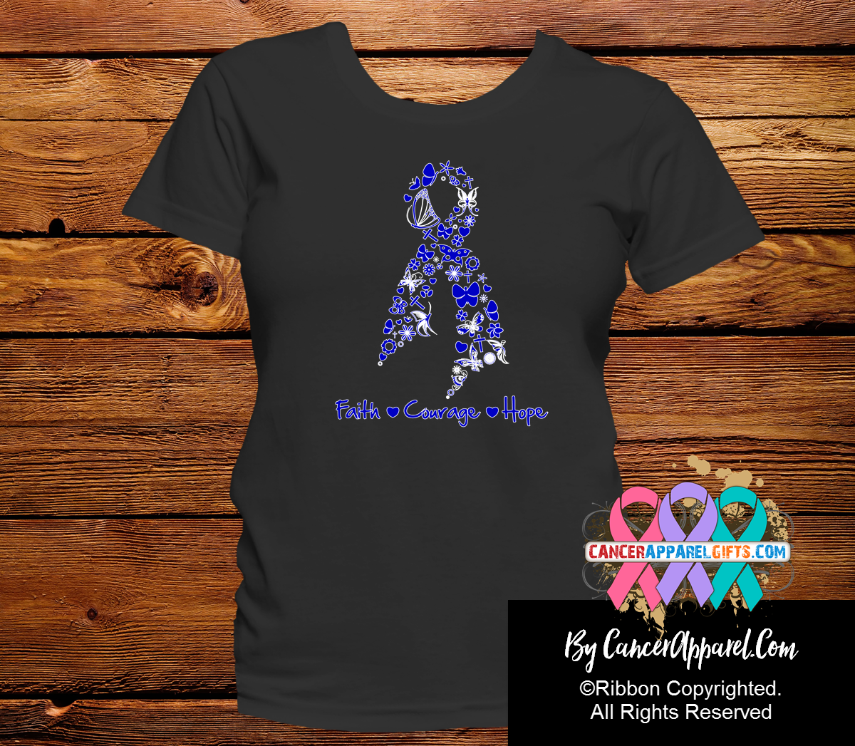 Colon Cancer Faith Courage Hope Shirts - Cancer Apparel and Gifts
