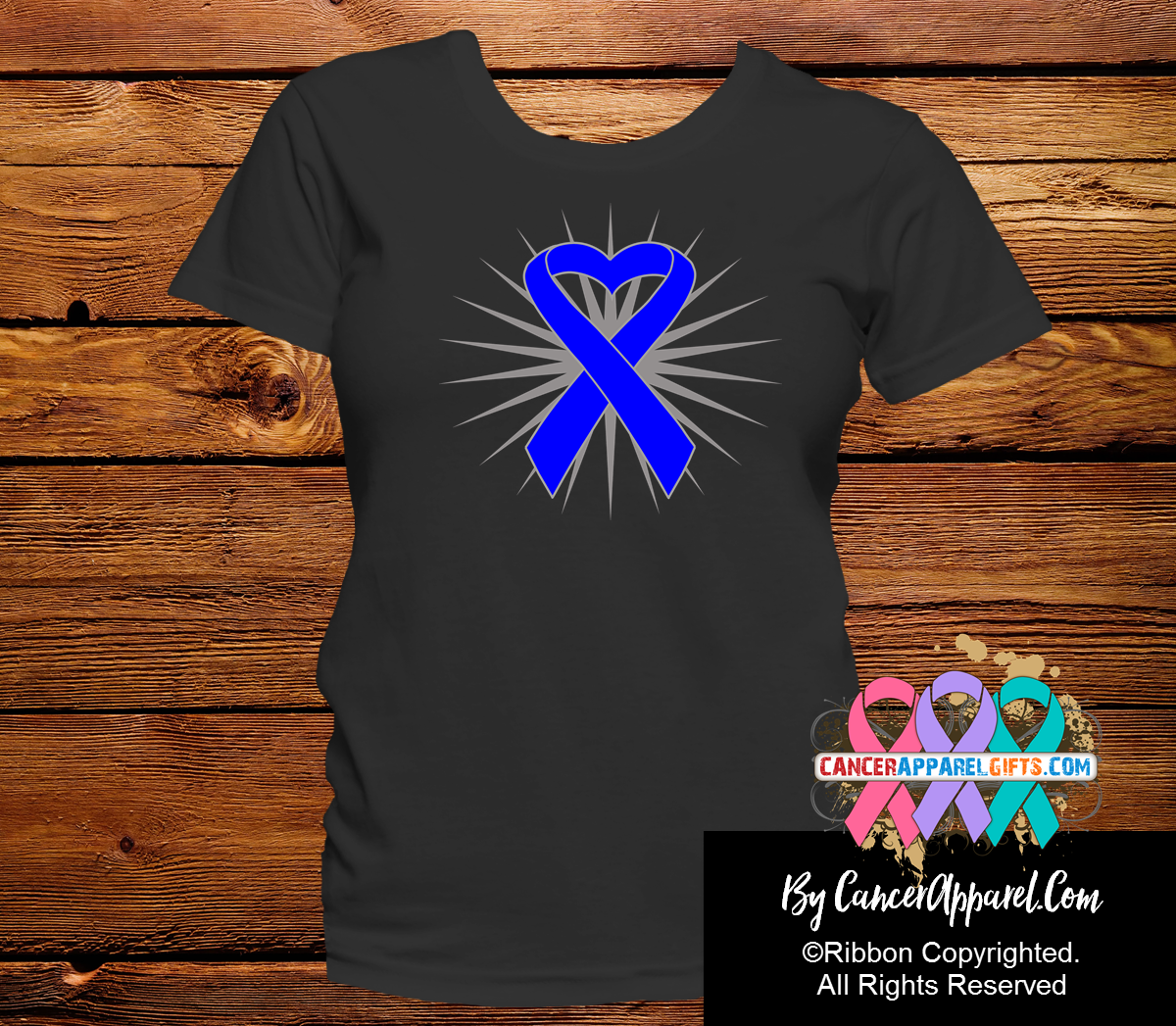Colon Cancer Awareness Heart Ribbon Shirts - Cancer Apparel and Gifts
