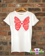 Bone Cancer Butterfly Collage of Words Shirts