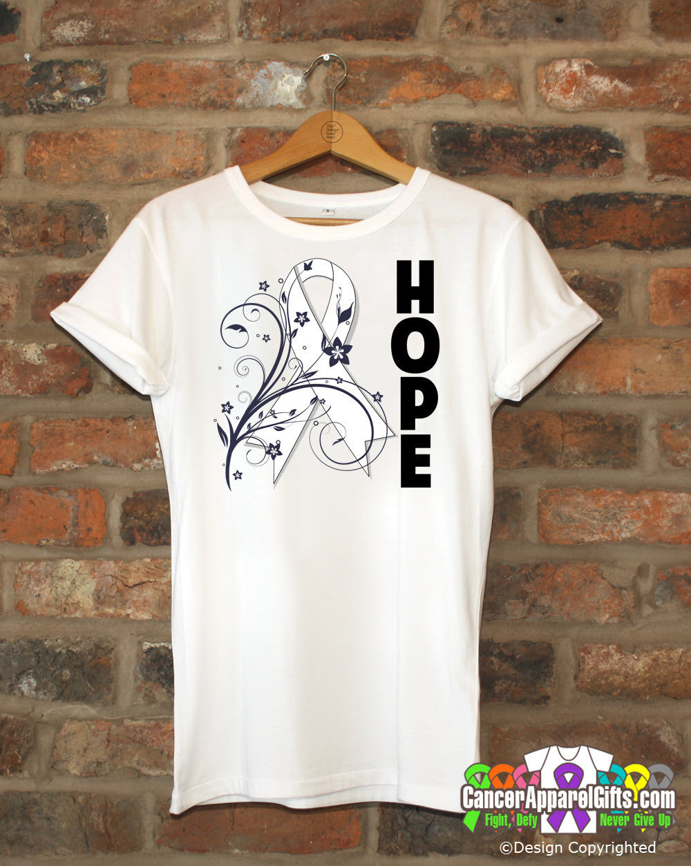 Bone Cancer Floral Hope Ribbon T-Shirt