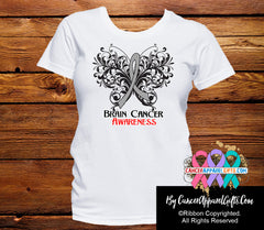 Brain Cancer Butterfly Ribbon Shirts - Cancer Apparel and Gifts