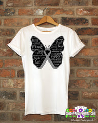 Brain Cancer Butterfly Collage of Words Shirts