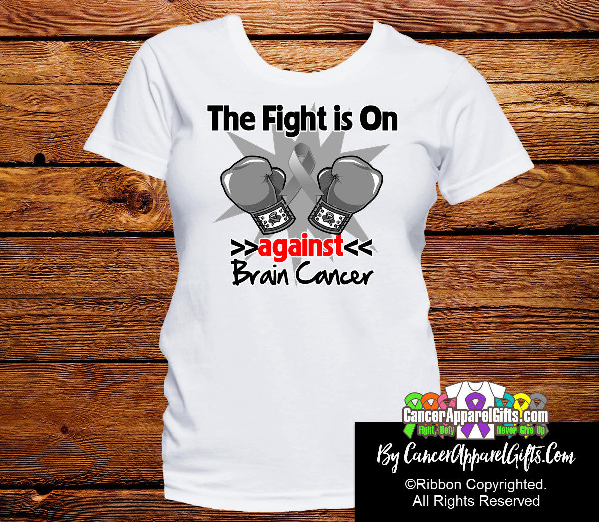 Brain Cancer The Fight is On Ladies Shirts
