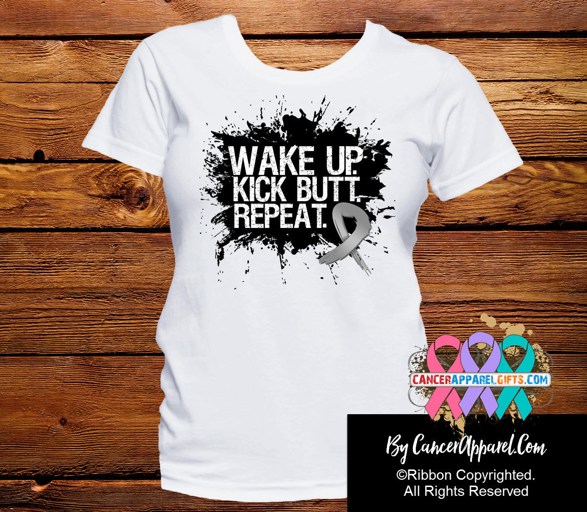 Brain Cancer Shirts Wake Up Kick Butt and Repeat - Cancer Apparel and Gifts