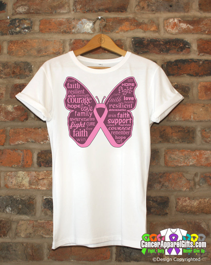 Breast Cancer Butterfly Collage of Words Shirts