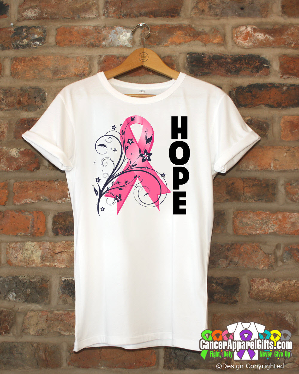 Breast Cancer Floral Hope Ribbon T-Shirt