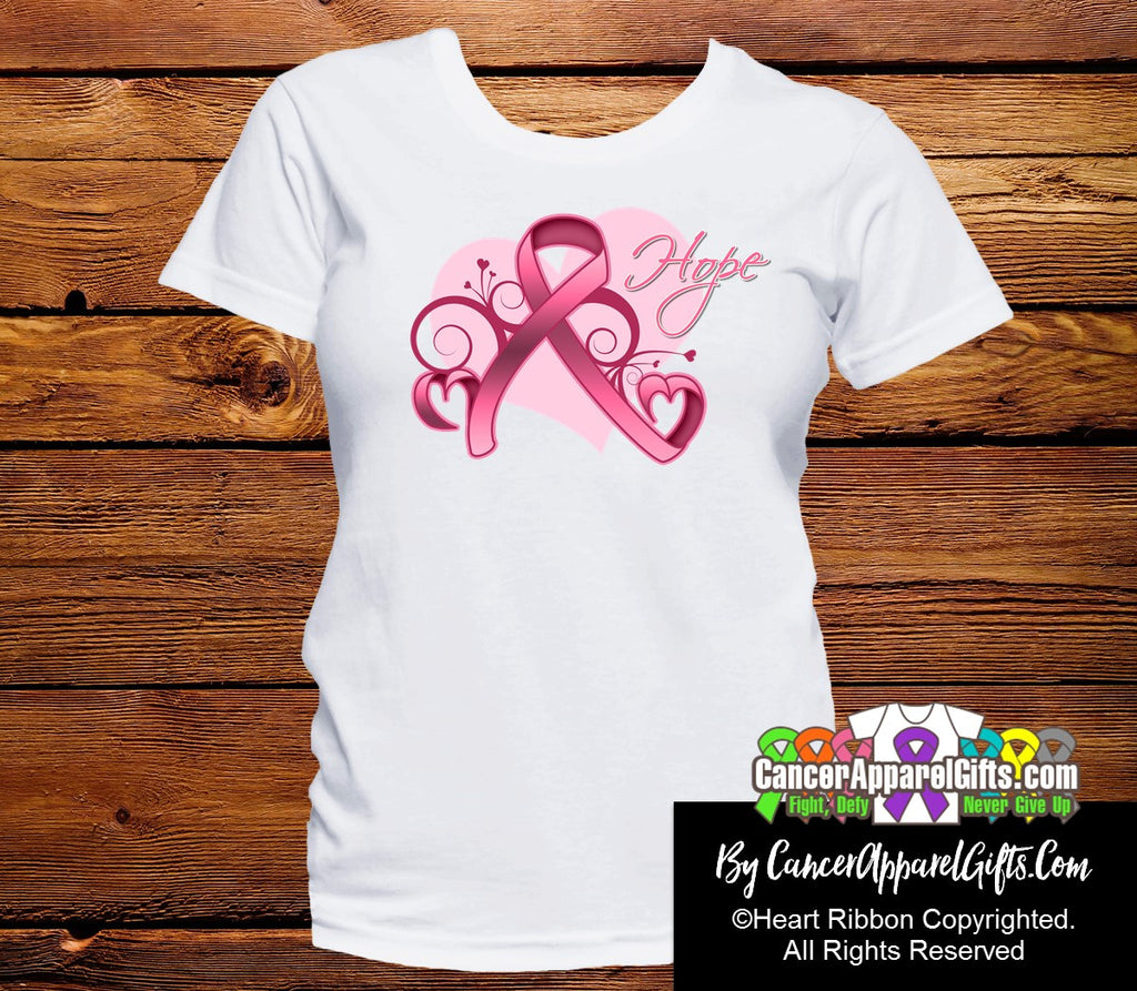 Breast Cancer Heart of Hope Ribbon Shirts