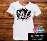 Breast Cancer Shirts Wake Up Kick Butt and Repeat - Cancer Apparel and Gifts