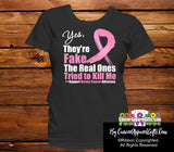 Breast Cancer Yes They Are Fake Black T-Shirts - Cancer Apparel and Gifts