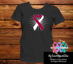 Head and Neck Cancer Heart Ribbon Shirts - Cancer Apparel and Gifts