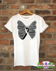 Carcinoid Cancer Butterfly Collage of Words Shirts