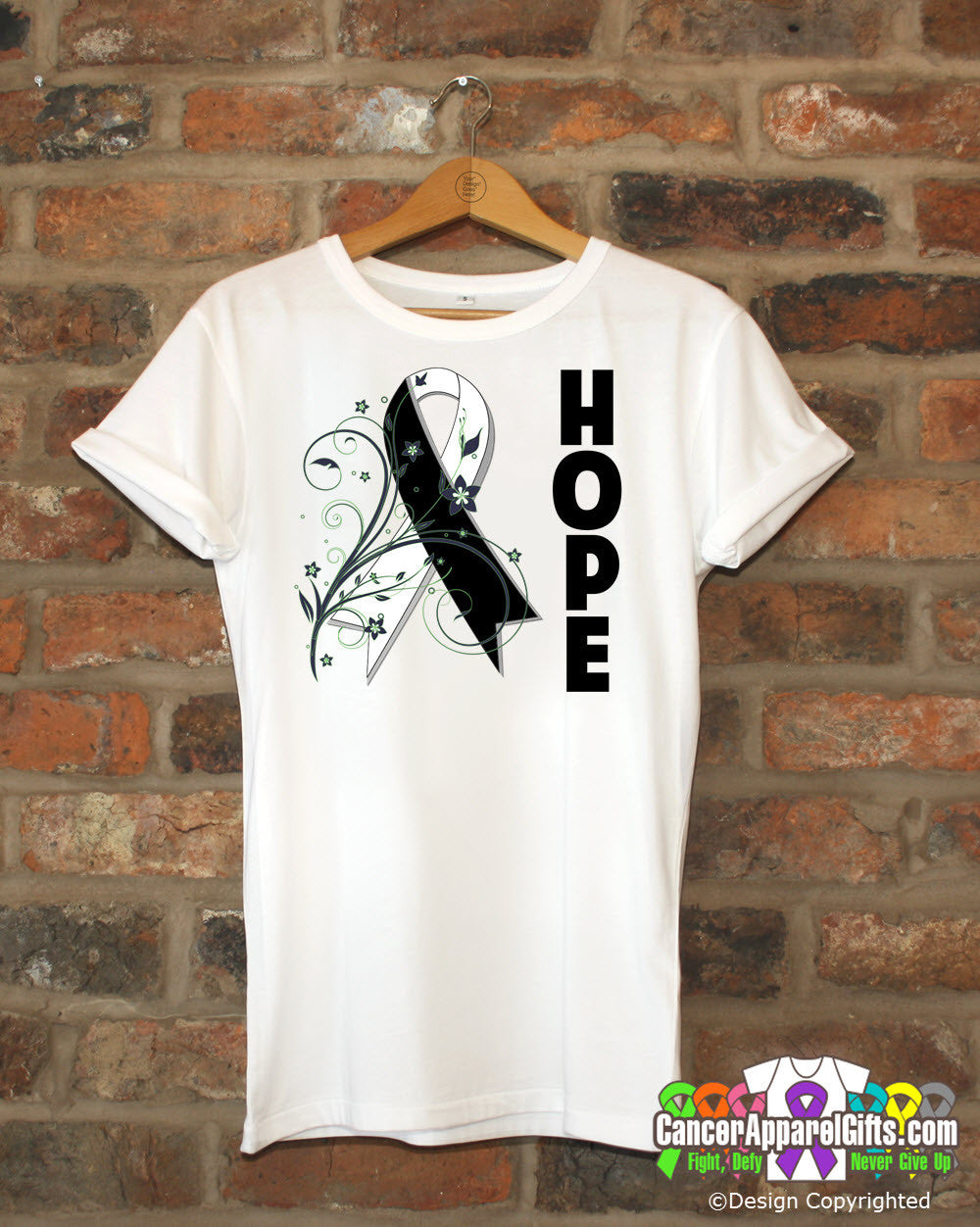 Carcinoid Cancer Floral Hope Ribbon T-Shirt