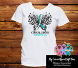 Cervical Cancer Butterfly Ribbon Shirts - Cancer Apparel and Gifts